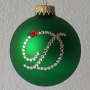 Green Standard Monogram Christmas Holly Ornament