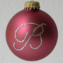 Rose Pink Fine Monogram Crystal Ornament