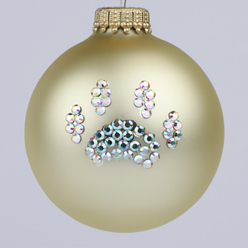 Gold Paw Print Ornament - Christmas Tree Ornaments - DesignerOrnaments.com :  crystals designer ornaments christmas tree ornaments