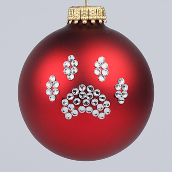 red paw print ornament