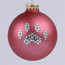 Rose Pink Paw Print Ornament