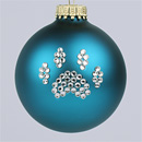 Turquoise Paw Print Ornament